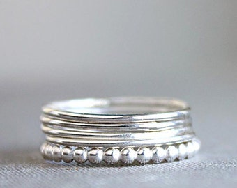 Sterling Silver Stacking Rings, skinny silver rings, knuckle ring set of 5, simple minimalist