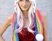 Magic Rainbow Prism Cloud Hooded Scoofie - Scarf w/ Hood, Drawstrings, Tassels - Happy Raincloud Costume - Made To Order