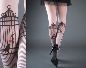 Tattoo Tights - Bird Cage Light Pink one size full length printed closed toe tights pantyhose, tattoo socks, bird, heart, love, romance