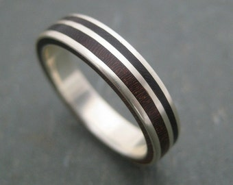 Rayo de Luz Nacascolo Wood Ring - wood wedding band with recycled sterling silver, wooden wedding ring
