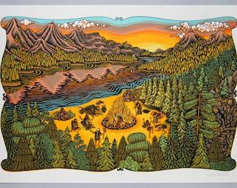 Bonfire - Woodcut Print, Woodblock Print by Tugboat Printshop