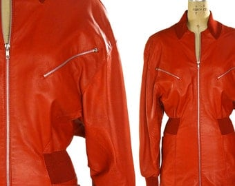 Red Leather Jacket / Vintage 1980s Butter Soft Leather Novelty Jacket by Uomo / Made in Italy