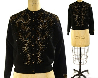 Beaded Cashmere Sweater / Vintage 1950s Black Cardigan with Gold Beading
