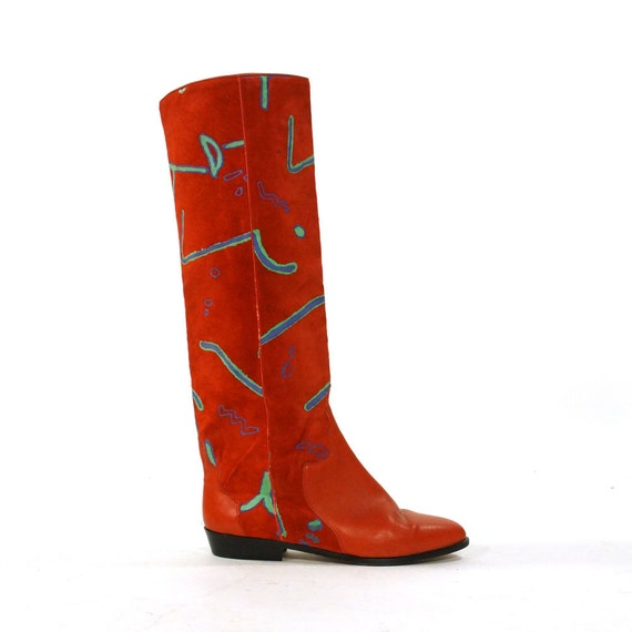 italian painted suede boots knee high boots