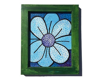 Blue and White Flower Painting in Green Frame