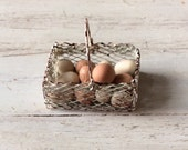 Dolls House Miniature Eggs in Wire Shabby Basket