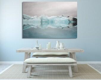 "Extra Large Canvas Art, Blue Wall Decor, Canvas Print, Iceland Iceberg, Winter Landscape Photo, Wall Art  ""Under the Glacier"""
