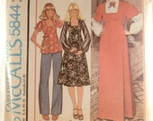 Vintage Sewing Pattern McCall's 5844 miss size 8 c1977