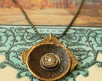 SALE - Circle in a square smashed button pendant for the Boho tribal rustic gypsy girl