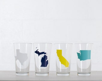 AMERICA PINT GLASSES - all 50 States available - mix and match