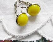Yellow Glass Earrings,  Canary Yellow Fused Glass Leverback Dangle Earrings , Modern Classic