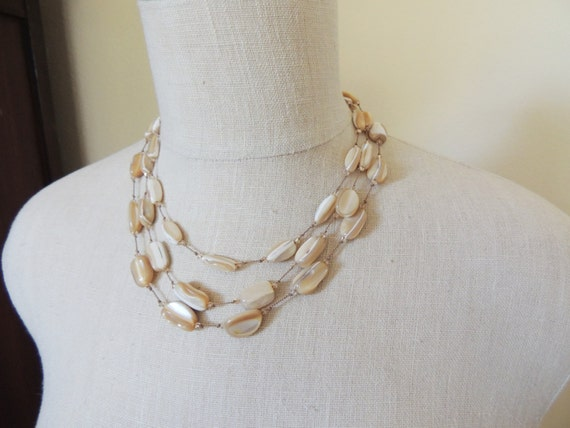 MOP Triple Strand Necklace hand knotted silk cord Natural Mother of Pearl Nuggets, Sterling clasp