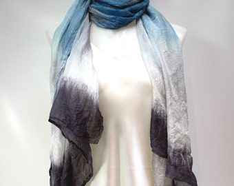 Dip-Dyed Ultralight Silk Scarf-Shawl in Blue Black White - In Stock Fast Ship