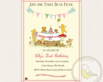 Teddy Bear Picnic Invitation - Blue or Pink version