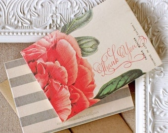 Peony Stripes Thank You Notes set of 5