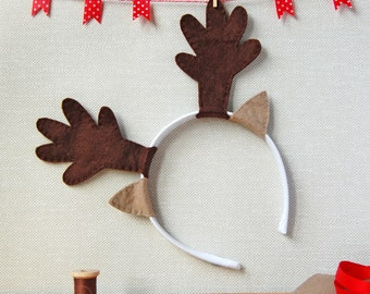 Reindeer Antlers Craft Kit - Make Your Own - Children's Sewing Kit - Creative Activity Kit - Dressing Up Toy - Christmas Stocking Filler
