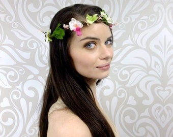 White and Pink Bridal Crown, Orchid Flower Crown, Bridal Hair Accessory, Flower Girl, Bridal Gift, Woodland Headpiece, Ready to Ship