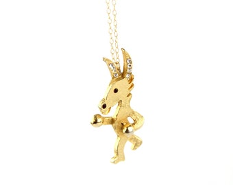 Put Up Your Dukes - Vintage Gold Tone Boxing Donkey Brooch Necklace