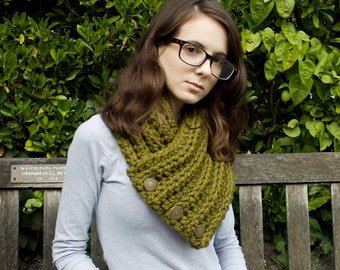 Crochet Cowl Chunky Scarf - Wellington Cowl in Olive Green Cowl Scarf - Green Cowl Green Scarf Olive Cowl Olive Scarf Womens Accessories