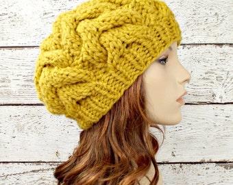 Citron Yellow Horseshoe Cable Beret Yellow Knit Hat Womens Hat - Yellow Hat Yellow Beret Yellow Beanie Yellow Winter Hat