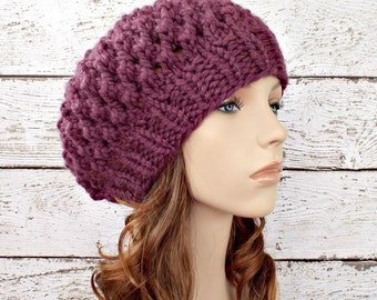 Purple Knit Hat Purple Womens Hat Purple Slouchy Beanie - Odessa Beret Fig Purple Hat - Purple Beret Purple Beanie Womens Accessories