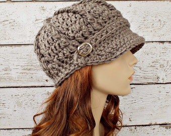 Taupe Womens Hat Taupe Newsboy Hat - Monarch Ribbed Crochet Newsboy Hat Taupe Grey Crochet Hat Womens Accessories - READY TO SHIP