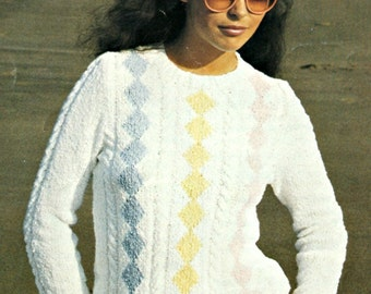 Sweater Knitting Pattern Cables with Colored Diamonds Patons 7133 Women Vintage Paper Original NOT a PDF
