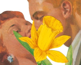 Original Collage Love Art on Paper Lovers Kiss Wall Art Kissing Couple Romantic Wall Art Yellow Daffodil Artwork