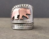 Made to order Wandering bear ring - statement ring - adjustable ring - unique ring - totem ring - animal jewelry - stamped ring