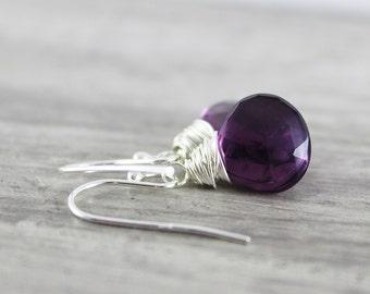Dark Purple Earrings, Sterling Silver Earrings, Wire Wrap Earrings, Amethyst Earrings, Grape Gemstone Earrings, Dangle Earrings, Quartz