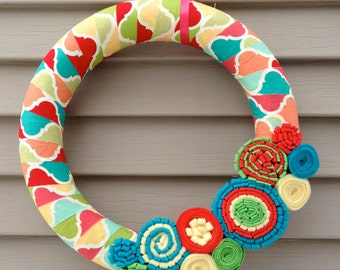 Spring Wreath - Fabric Wreath - Felt Flowers - Summer Wreath - Fabric Wreath - Spring Felt Flower Wreath - Felt Flower Wreath -Easter Wreath