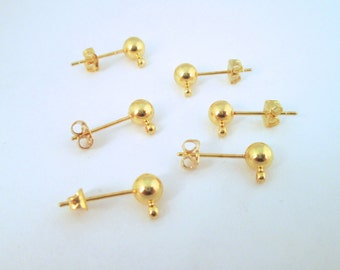 6pr. 4mm ball studs earrings with a loop, gold  plated with matching ear nuts