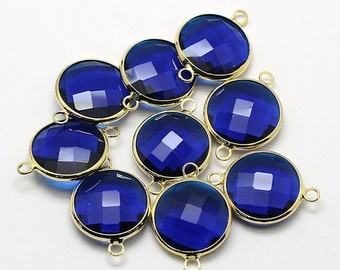 2 Round Royal Blue Faceted Glass Connecter Pendant Drops with a Smooth Gold Plated Bezel