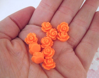 10mm round floral rose cabochons, melon orange, pick your amount