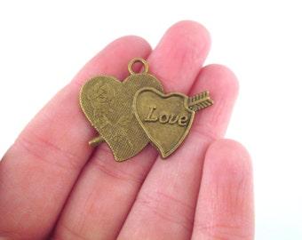 6 brass valentine heart charms 34x27mm, G186