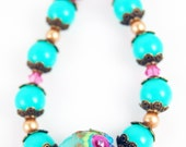 RESERVED Bollywood Turquoise and Pink Lampwork Bracelet