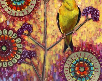 Goldfinch on Verbena #4- Archival Print on Wood
