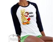 "Thanksgiving Women Shirt - Fall Adult Tee - Retro Thanksgiving Dinner Party Shirt - ""Gobble Gobble"" - Unisex Custom Size S M L Xl"