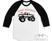 "Valentine Shirt Boy - Boys Valentine Baseball Retro Tee - ""Love Machine"" - Motorcycle or Truck - Black White Baseball Custom Size Vintage"