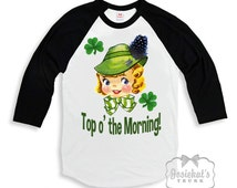 "St Patricks Day Kids - ""Top o' the Morning"" Irish Shirt - Irish Black White Baseball - Boy Girl Irish Shirt - Toddler Infant - Retro Vintage"