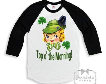 "St Patricks Day Kids - ""Top o' the Morning"" Irish Shirt - Irish Black White Baseball - Boy Girl Irish Shirt - Toddler Infant - Retro Vintage"