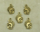 5 Spartan Greco Roman Soldier Charms - Trojan Gladiator 300 Rome Dr Who - Gold Tone American Made Lead Free Pewter - I ship internationally