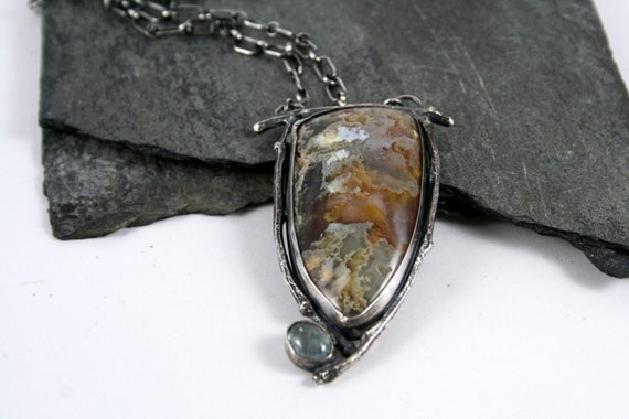 Plume Agate, Green Tourmaline Sterling Silver Twig Necklace Twig Jewelry