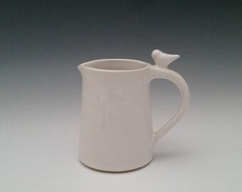 Ceramic Serving Pitcher, Creamer, Jug with Bird