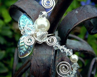 Ear Cuff Fairy Crystal, No Piercing, Fairy Jewelry, Fantasy Vine Wrap Enchanted Forest, Bridal Ear Cuff