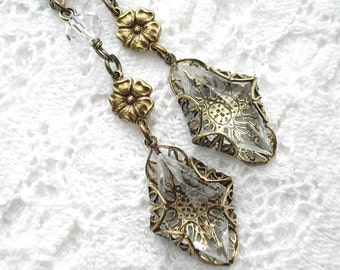 Crystal Diamond Long Dangle Earrings - Filigree Wrapped Crystal Clear Glass Jewels