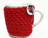 Coffee Cozy Hearts and Flowers Cup Cozy Crochet Coffee Cup Novelty Secret Santa Teacher Gift Red