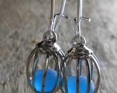 FAUX Sea Glass Jewelry - Beach Glass Cage Earrings - LOVE BIRDS