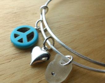 Sea Glass Expandable Bracelet - Beach Glass Bangle Bracelet - THE EXPANDABLES