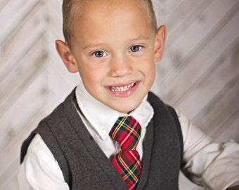 Children's Christmas Outfit - Red Plaid Necktie - Christmas Boy's Tie - Royal Stewart Tartan Children's Necktie